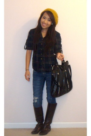 Forever 21 shirt - J Brand jeans - random boutique accessories - Frye boots - Bo