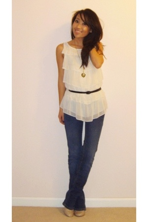 The Limited top - forever 21 belt - Macys jeans - Aldo shoes
