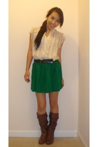 HERITAGE 81 blouse - Forever 21 skirt - Wet Seal belt - Steve Madden boots