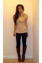 Forever 21 blouse - Paige Denim jeans - boots