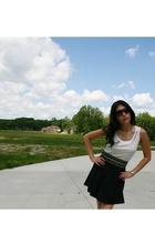 DIY top - Dex skirt - forever 21 belt - Maripe shoes - ax glasses - Fossil