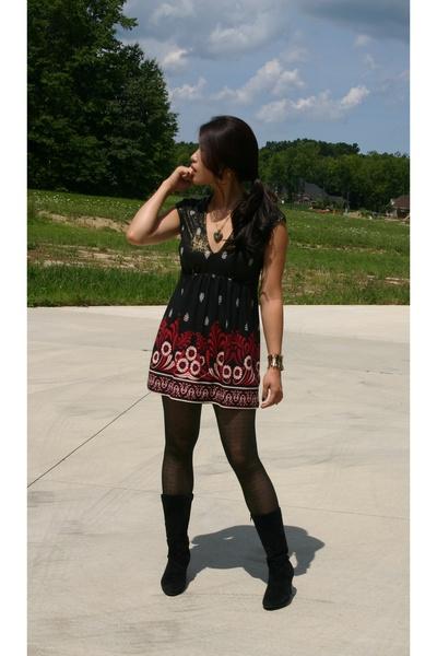 unknown brand dress - white mt boots - unknown brand tights