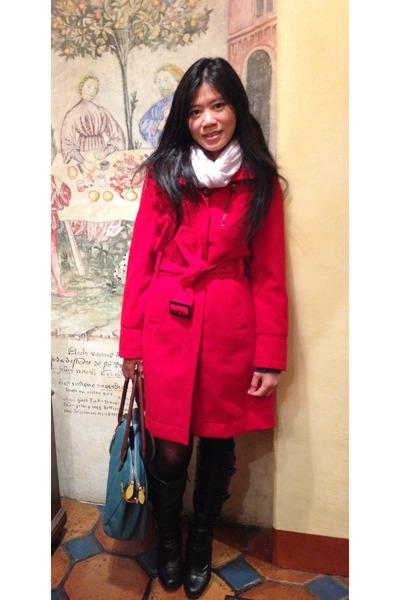 Worthington coat - JustFab boots - lavender Club Monaco scarf