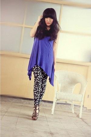 black legging emit poise leggings - blue cotton cotto top