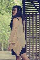 beige cotton Velvet blouse - dark gray cotton on top