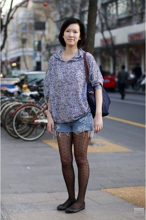 Ameican Apparel blouse - longchamp purse - H&M tights - Urban Outfitters shorts