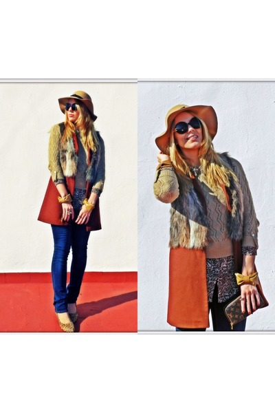 brick red Zara vest - navy pull&bear jeans - light brown Primark hat