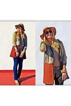 brick red Zara vest - navy pull&bear jeans - light brown Primark hat
