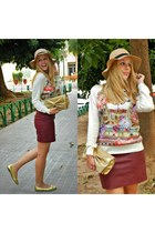 beige Derhy sweater - bronze Primark hat - brick red H&M skirt