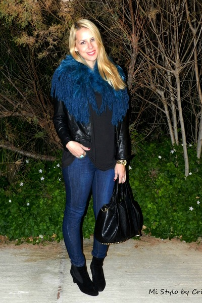 blue Zara cape - navy BLANCO jeans - black Lefties jacket - black Zara t-shirt