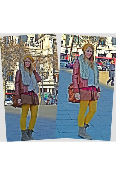 yellow Zara stockings - yellow BLANCO hat - burnt orange vintage jacket