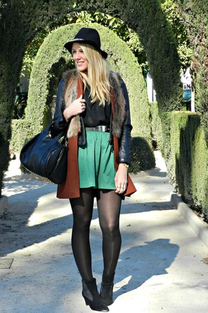 green Zara skirt - black H&M shirt - ruby red Zara vest