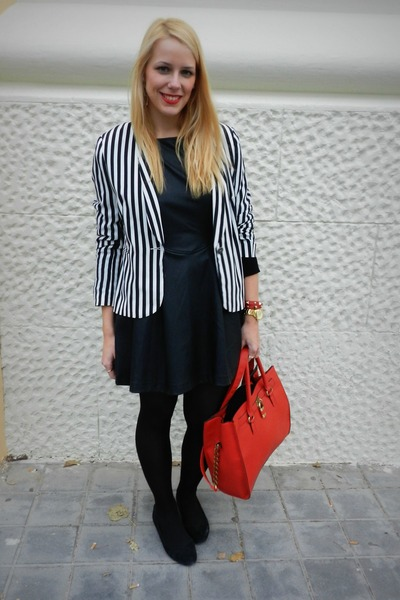 black Primark dress - black Primark blazer - red Primark bag