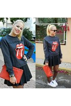 ruby red Primark bag - black Primark dress - gray Primark sweatshirt