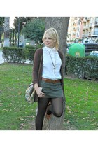 white Zara shirt - olive green pull&bear skirt - bronze Mar Bcn necklace