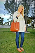 navy H&M jeans - beige soyunachicanormal jacket - burnt orange Ebay bag