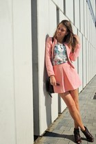 light pink Stradivarius jacket - light brown Zara boots