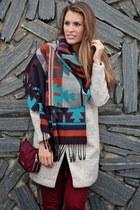 Primark scarf - beige MiniTake coat - Bimba & Lola bag - crimson pants