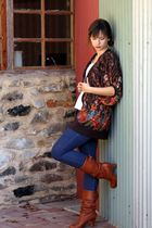 brown cardigan - beige top - blue jeans - brown boots