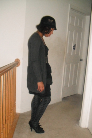 black hat - gray cardigan - black dress - gold belt - gray Target tights - black