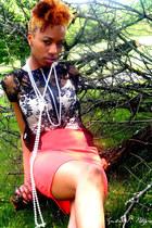 black Charlotte Russe shirt - salmon Charlotte Russe skirt
