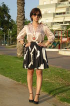 black Nine West shoes - Zara blouse - pink Zara skirt - orange Aldo necklace