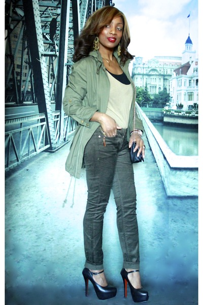 winners jacket - Chanel purse - Bebe pants - Christian Louboutin pumps
