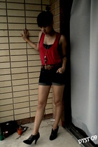 black supre top - red dress - black shorts - brown belt - black Billy shoes