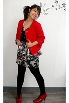silver Forever 21 dress - red vintage jacket - red esperanza boots