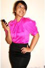 Pink-online-boutique-blouse-black-zara-skirt