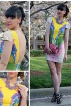 Hugssy necklace - Tibi dress - ruched clutch Nordstrom bag