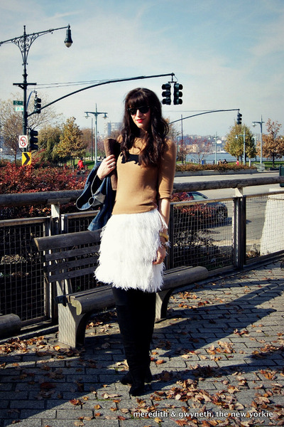 feather DIY skirt - suede stuart weitzman boots - denim Gap jacket