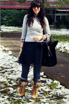 tippi J Crew sweater - joan of artic Sorel boots - J Crew shirt