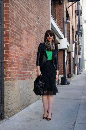 knit Jcrew sweater - leopard asos scarf - bow Valentino bag