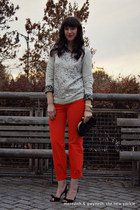 leopard print J Crew shirt - chain link J Crew bag - orange J Crew pants