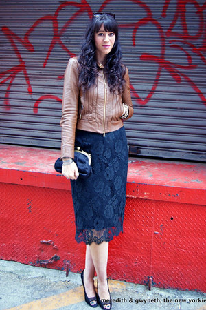 lace pencil J Crew skirt - leather haute hippie jacket - chain J Crew bag