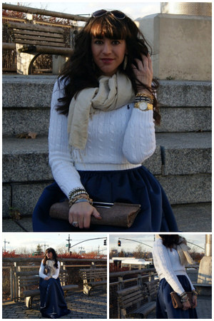 cable knit Ralph Lauren sweater - cashmere Henri Bendel scarf