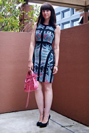 paisley bcbg max azria dress - balenciaga bag - Charles David heels