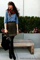 metallic mini Loft skirt - suede stuart weitzman boots - chambray J Crew shirt