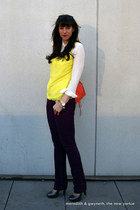 piperlime top - mini mac Rebecca Minkoff bag - Ray sunglasses - J Crew blouse