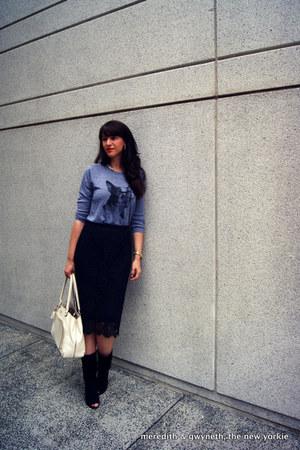 lace pencil J Crew skirt - open toe suede Diane Von Furstenberg boots