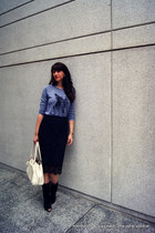 lace pencil J Crew skirt - open toe suede Diane Von Furstenberg boots