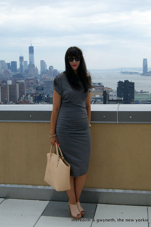 draped Helmut dress - Zara bag - Rebecca Minko wedges