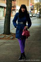 fur trim puffer DKNY coat - slouch Nordstrom boots - balenciaga bag