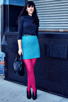 pink modcloth tights - sequin shoulder Lucian Matis sweater - bow Valentino bag