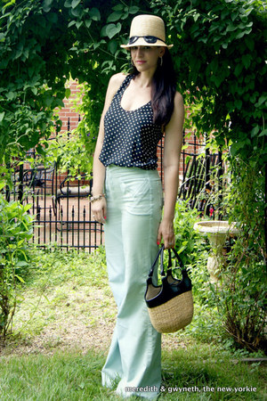 mint Alice  Olivia jeans - kate spade hat - straw banana republic bag