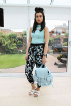 Boohoo top - Topshop bag - Topshop pants - Topshop sandals - Primark necklace