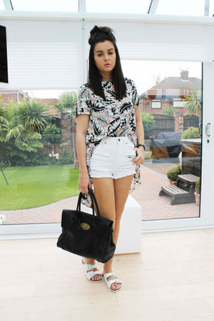 white Primark shorts - black Mulberry bag - pink Laundry Boutique top