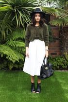 army green H&M jumper - black Kurt Geiger boots - black Miss Selfridge hat