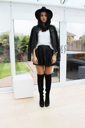black River Island boots - black Miss Selfridge hat - black asos jacket